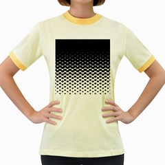 Halftone Gradient Pattern Women s Fitted Ringer T Shirts
