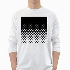 Halftone Gradient Pattern White Long Sleeve T-Shirts