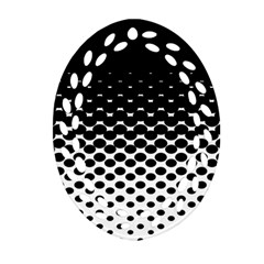 Halftone Gradient Pattern Oval Filigree Ornament (Two Sides)