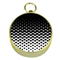 Halftone Gradient Pattern Gold Compasses