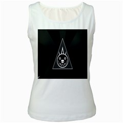 Abstract Pigs Triangle Women s White Tank Top