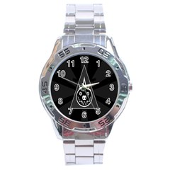 Abstract Pigs Triangle Stainless Steel Analogue Watch