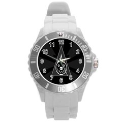 Abstract Pigs Triangle Round Plastic Sport Watch (L)