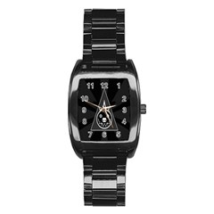 Abstract Pigs Triangle Stainless Steel Barrel Watch