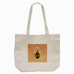 Digital Art Minimalism Nature Simple Background Palm Trees Volcano Eruption Lava Smoke Low Poly Circ Tote Bag (Cream)