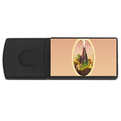 Digital Art Minimalism Nature Simple Background Palm Trees Volcano Eruption Lava Smoke Low Poly Circ USB Flash Drive Rectangular (4 GB)