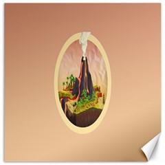 Digital Art Minimalism Nature Simple Background Palm Trees Volcano Eruption Lava Smoke Low Poly Circ Canvas 16  X 16