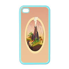 Digital Art Minimalism Nature Simple Background Palm Trees Volcano Eruption Lava Smoke Low Poly Circ Apple iPhone 4 Case (Color)