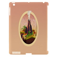 Digital Art Minimalism Nature Simple Background Palm Trees Volcano Eruption Lava Smoke Low Poly Circ Apple Ipad 3/4 Hardshell Case (compatible With Smart Cover)