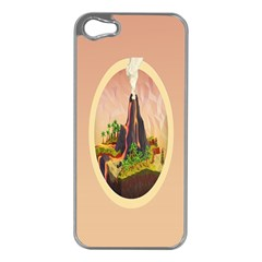Digital Art Minimalism Nature Simple Background Palm Trees Volcano Eruption Lava Smoke Low Poly Circ Apple iPhone 5 Case (Silver)