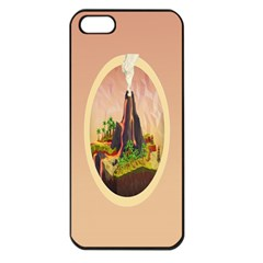 Digital Art Minimalism Nature Simple Background Palm Trees Volcano Eruption Lava Smoke Low Poly Circ Apple iPhone 5 Seamless Case (Black)