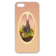Digital Art Minimalism Nature Simple Background Palm Trees Volcano Eruption Lava Smoke Low Poly Circ Apple Seamless iPhone 5 Case (Clear)