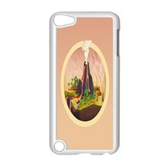 Digital Art Minimalism Nature Simple Background Palm Trees Volcano Eruption Lava Smoke Low Poly Circ Apple iPod Touch 5 Case (White)