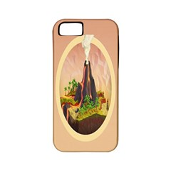 Digital Art Minimalism Nature Simple Background Palm Trees Volcano Eruption Lava Smoke Low Poly Circ Apple iPhone 5 Classic Hardshell Case (PC+Silicone)