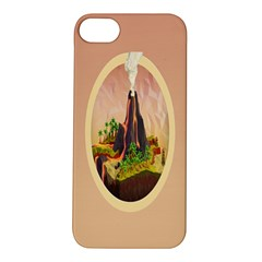 Digital Art Minimalism Nature Simple Background Palm Trees Volcano Eruption Lava Smoke Low Poly Circ Apple iPhone 5S/ SE Hardshell Case