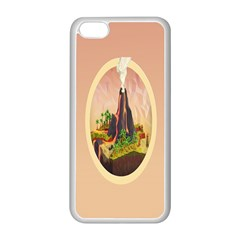 Digital Art Minimalism Nature Simple Background Palm Trees Volcano Eruption Lava Smoke Low Poly Circ Apple iPhone 5C Seamless Case (White)
