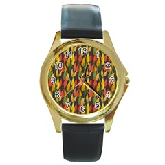 Colorful Leaves Yellow Red Green Grey Rainbow Leaf Round Gold Metal Watch