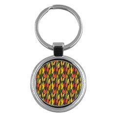 Colorful Leaves Yellow Red Green Grey Rainbow Leaf Key Chains (round)
