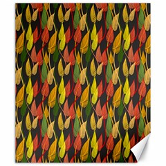 Colorful Leaves Yellow Red Green Grey Rainbow Leaf Canvas 20  X 24