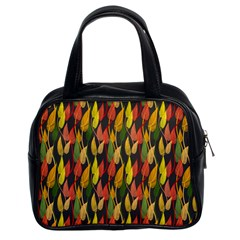 Colorful Leaves Yellow Red Green Grey Rainbow Leaf Classic Handbags (2 Sides)