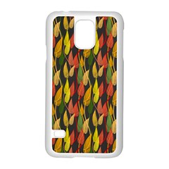 Colorful Leaves Yellow Red Green Grey Rainbow Leaf Samsung Galaxy S5 Case (white)