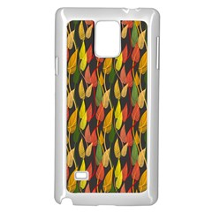 Colorful Leaves Yellow Red Green Grey Rainbow Leaf Samsung Galaxy Note 4 Case (white)