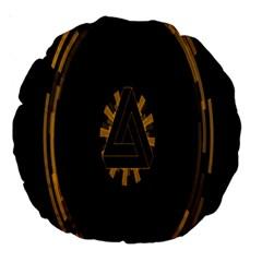 Geometry Interfaces Deus Ex Human Revolution Deus Ex Penrose Triangle Large 18  Premium Round Cushions