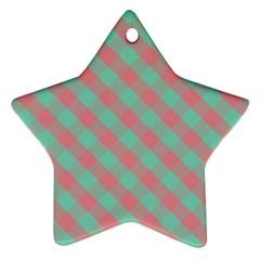 Cross Pink Green Gingham Digital Paper Ornament (star)