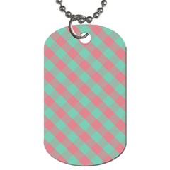 Cross Pink Green Gingham Digital Paper Dog Tag (two Sides)