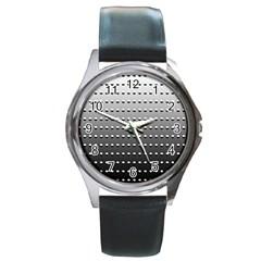 Gradient Oval Pattern Round Metal Watch