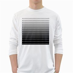 Gradient Oval Pattern White Long Sleeve T Shirts