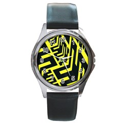 Pattern Abstract Round Metal Watch