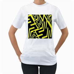 Pattern Abstract Women s T Shirt (white) (two Sided)