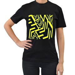 Pattern Abstract Women s T-Shirt (Black) (Two Sided)