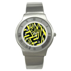 Pattern Abstract Stainless Steel Watch