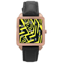 Pattern Abstract Rose Gold Leather Watch
