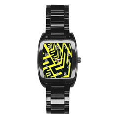 Pattern Abstract Stainless Steel Barrel Watch