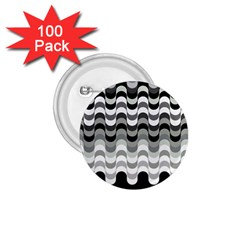 Chevron Wave Triangle Waves Grey Black 1 75  Buttons (100 Pack)