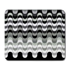 Chevron Wave Triangle Waves Grey Black Large Mousepads