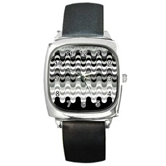 Chevron Wave Triangle Waves Grey Black Square Metal Watch