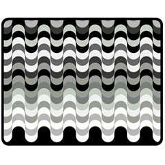 Chevron Wave Triangle Waves Grey Black Fleece Blanket (medium)