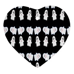 Cute Ghost Pattern Heart Ornament (two Sides)