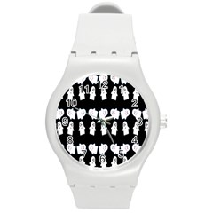 Cute Ghost Pattern Round Plastic Sport Watch (m)