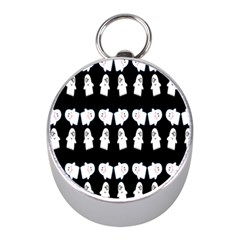 Cute Ghost Pattern Mini Silver Compasses