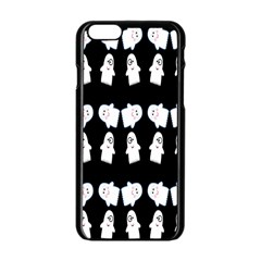 Cute Ghost Pattern Apple iPhone 6/6S Black Enamel Case