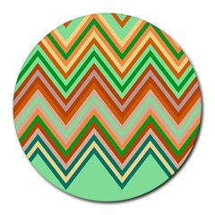 Chevron Wave Color Rainbow Triangle Waves Round Mousepads