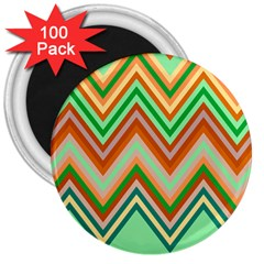 Chevron Wave Color Rainbow Triangle Waves 3  Magnets (100 Pack)