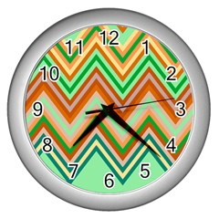 Chevron Wave Color Rainbow Triangle Waves Wall Clocks (silver)
