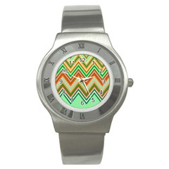 Chevron Wave Color Rainbow Triangle Waves Stainless Steel Watch