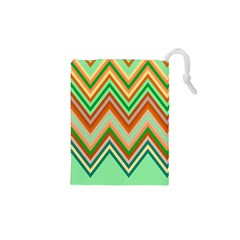 Chevron Wave Color Rainbow Triangle Waves Drawstring Pouches (xs)